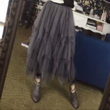 Women Irregular Voile Skirt High Elastic Waist Lining Mesh Midi Tutu Underskirt