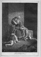 Stampa antica UGOLINO della GHERARDESCA da PISA in prigione 1876 Old print