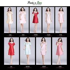 Women Spring Gowns Nightie Silk Feel Sleeveless Ladies Sleepwear Nightdress Pink