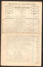 """LES AIX-D'ANGILLON (18) SELLERIE BOURRELLERIE """"JULIEN-GAUTHIER"""" en 1928"""