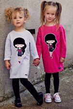Tunika Kleid Mädchen Sweatshirt mit Druck Kinder Langarm MalaMi Neu Pink