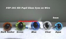 8 PAIR Glass Eyes SLIT PUPIL on WIRE 6mm, 7mm, 8mm, 9mm  Cat, Needle Felt SP-201