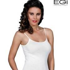 Canottiera donna Egi a spalla stretta in lana e seta con profili in raso art 140