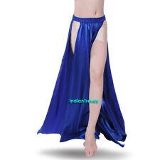 Royal Blue Satin Panel Skirt Belly Dance Tribal Side Slit Costume Flamenco Petal