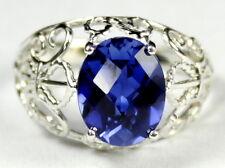 Created Blue Sapphire, 925 Sterling Silver Angel Ring, SR154-Handmade