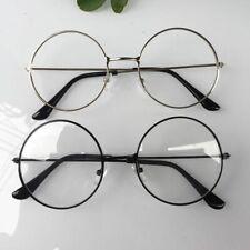 Women Men Large Oversized Metal Frame Clear Lens Round Circle Eye Glasses Chic