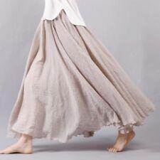 Women Linen Cotton Long Skirts Elastic Waists Pleated Beach Vintage Summer Skirt