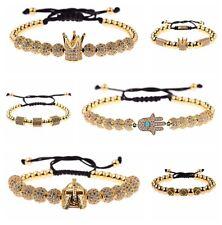 Fashion Men Women Zircon Evil Eye Hand Crown Beads Braiding Adjustable Bracelets
