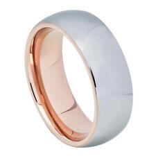 Men 8MM Tungsten Carbide Wedding Band Domed High Polish Gun Metal Tone Ring