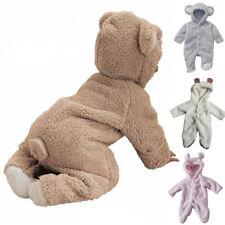 Newborn Baby Boy Girl Hooded Romper Fleece Bear Jumpsuits Bodysuit Clothes 0-12M