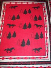 NATIVE AMERICAN RUNNING HORSE TREE FLEECE RED BLACK FABRIC PANEL OOP