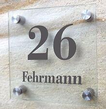 Glasschild, Türschild, Hausnummer, Namensschild, Schild, 15 x 15 cm individuell