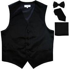 New Men's tuxedo Vest Waistcoat With Necktie, Bowtie & Hankie Set Black formal