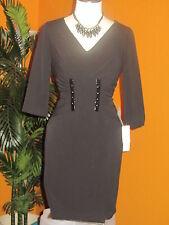 ADRIANNA PAPELL NWT $160 8P black women's dress mid-calf length cocktail
