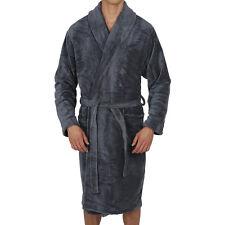 Mens-Bathrobe- Shawl Collar -GREY- Coral Fleece - SUPER SOFT Heavy Weight