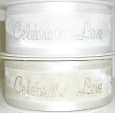 Qualità superiore celebrare LOVE Sposa Velato Nastro 30mm,5 Mtrs GOLD / SILVER ART 54277