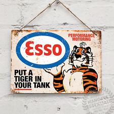 """ESSO """"Tiger in your tank"""" Replica Vintage Metal Wall Sign Plaque Retro Garage"""