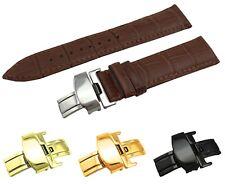 Correa de cuero Croco marrón/Banda Ajuste Jaeger LeCoultre reloj cierre 18 19 20 21 22mm