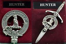 Hunter Scottish Clan Crest Pewter Badge or Kilt Pin