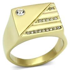 731 MENS MANS SIGNET DESIGNER RING SIMULATED DIAMONDS ROLLED GOLD 18KT SIGNET