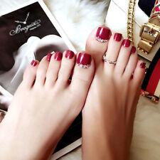 24/12/1Pcs Red Rhinestone Art Tips Full Cover False Toe Fake Nails ManicureTools