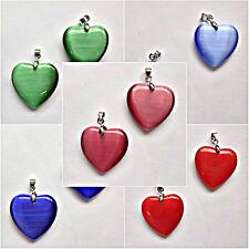 4 Cats Eye Flat Heart Pendants 25mm Choose Colour