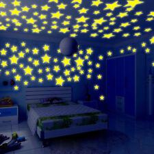 100pcs 3D Stars Glow In The Dark Luminous Fluorescent Wall Stickers Home Decor