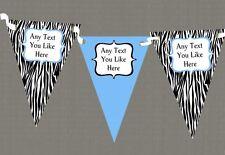 Zebra Print & Sky Blue Personalised Birthday Party Bunting