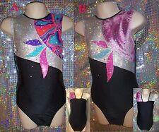 Gymnastics Leotard Dance Girls Kids Black Sparkling Pink Sleeveless Razzledazzle