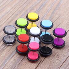 Pair Candy Color Acrylic Fake Ear Plug Stud Illusion Flesh Tunnel O-ring Earring