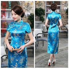 Dragon Phoenix Women's Silk Satin Long Dress Cheongsam Qipao SZ S-6XL Sky Blue