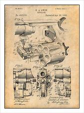 1898 Owen Revolver Pistol Gun Patent Print Art Drawing Poster 18X24