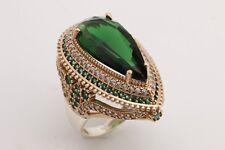 Turkish Handmade Jewelry Long Drop Emerald Topaz 925 Sterling Silver Ring Size
