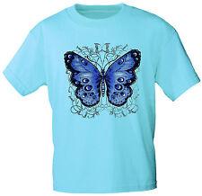 (06992 Azul) Niños Camiseta T-shirt Chica Mariposa Mariposa Talla 104-164