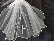 """18"""" palier unique communion voile avec daisy cross"""