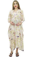 Bimba Moms Rose Floral Imprimé Cordon Taille Caftan De Maternité Robe Maxi