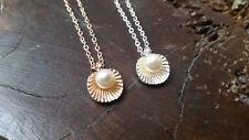 Kette Muschel mit Perle Anhänger silber oder golden nautisch Ozean Meer