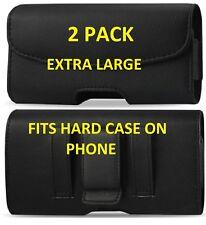 2 PACK XL Black Leather Pouch Holder Belt Clip Loop Holster For MOTOROLA Phones