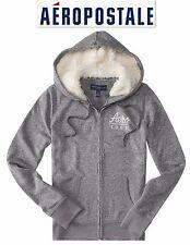 NWT Sz. XS, S, & XL Aeropostale Grey Fleece Fur Hoodie Sweatshirt Sweater Jacket
