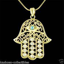 Big w Swarovski Crystal Jewish ~Hamsa Hand~ Hamesh Evil Eye Gold Plated Necklace