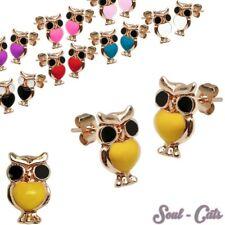 Ein Paar trendige Ohrstecker Eule Kinder viele Farben Ohrring owl rot schwarz