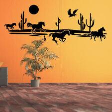Wandtattoo Wandaufkleber Aufkleber - Savane Wüste Pferde Kakteen +376+
