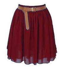 Maroon Mini Skirt Women Girl Chiffon Short Dress Pleated Retro Elastic Waist