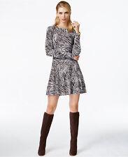 NWT $160 MICHAEL KORS Metallic Crewneck Zebra Print Flare Sweater Dress