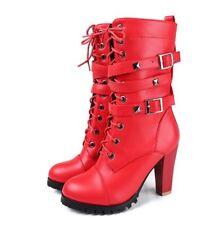 Chic Lady Women Strappy Rivets Mid-calf Boots High Heels Buckel Biker Boots 108