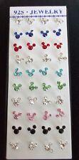 Para Niños Niñas Mickey/minnie cristal Bling Aretes Plateado Plata