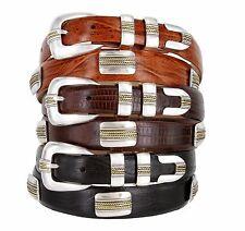 "Golden Rope Italian Calfskin Leather Designer Dress Belt 1-1/8"" taper to 1"" Wide"
