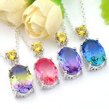 Multi Oval Shaped Bi Color Tourmaline Citrine Gemstone Silver Necklace Pendants
