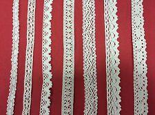 Cotton Crochet Lace Trim ECRU Cream Ribbon Craft Vintage scallop 10-23mm METRE