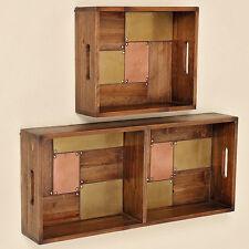 Loft-Möbel Regal Raul Wandregal Holz braun gold bronze B63 cm oder B32 cm
